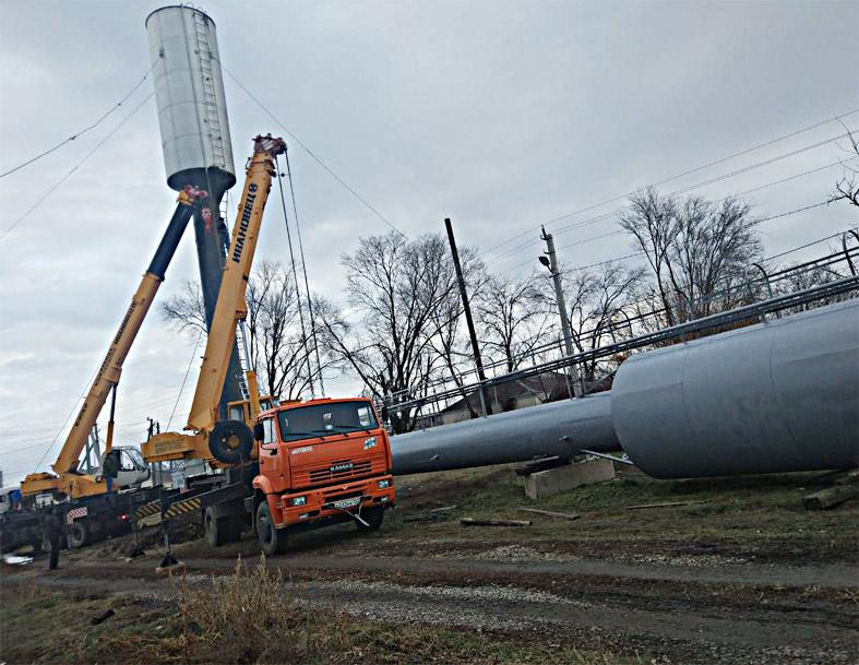 Монтаж новой водонапорной башни в станице Старолеушковской. «Единство», Павловский район,