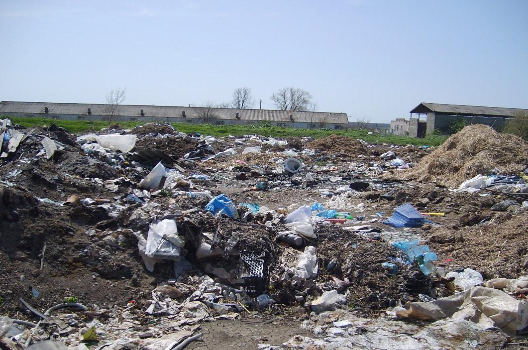 """Горы мусора в полях рядом с заброшенной фермой хозяйства """"За мир и труд"""""""