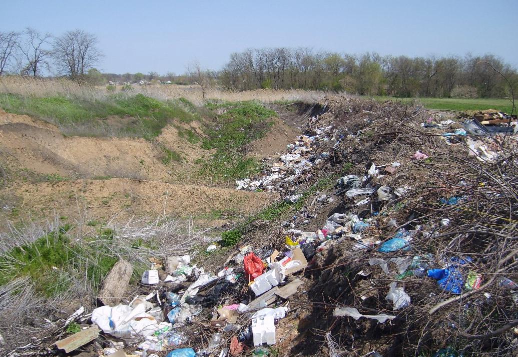 Свалка в овраге между Сосыкой и дорогой из Павловской на хутор Шевченко