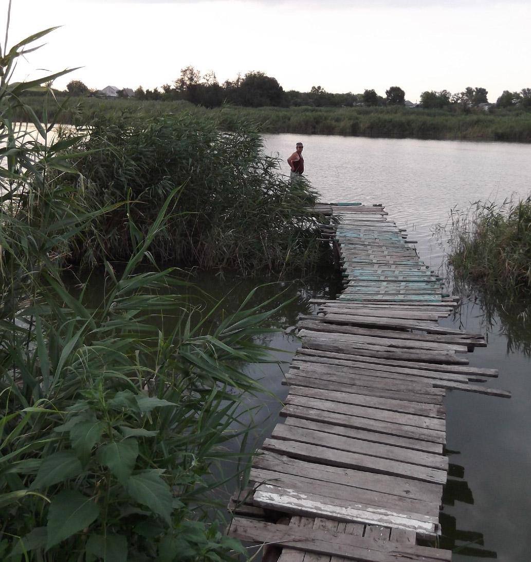 Мостик, тянущийся далеко от берега, члены клуба рыбаков специально построили для наблюдения за этим участком реки
