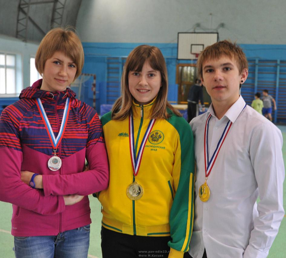 Медалисты высшего пилотажа М. Корнейчук, А. Подгорнова и А. Широкий