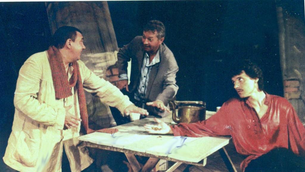 Фрагмент спектакля «На дне». В.Мельников, В.Сидорчук и А.Григоренко. 1999г.