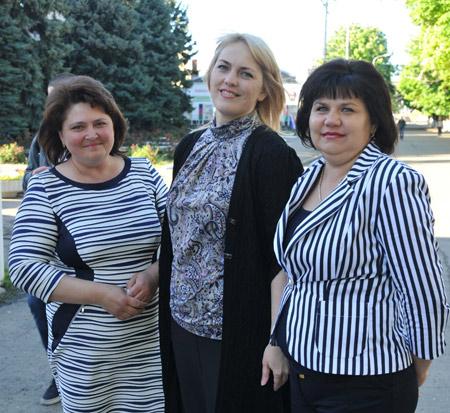 Слева направо: Н.В. Бычек, А.С. Пономарева, М.И. Воловодова
